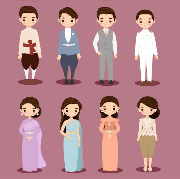 Fumetto tailandese sveglio delle coppie dello sposo e della sposa