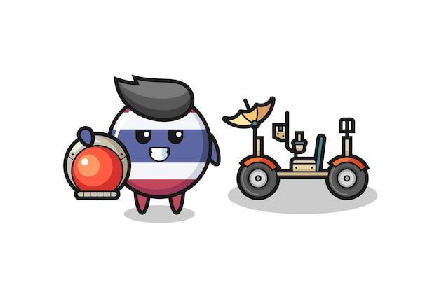Il simpatico distintivo della bandiera thailandese come astronauta con un rover lunare, design in stile carino per maglietta, adesivo, elemento logo