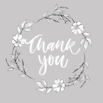 Testo della lettera dei fiori della carta dello script di ringraziamento sveglio