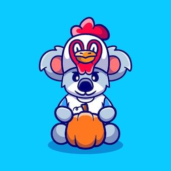Simpatico koala del ringraziamento che trasporta una zucca e indossa un cappello da pollo