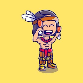 Simpatico ragazzo indiano nativo del ringraziamento con cosce di pollo fritte