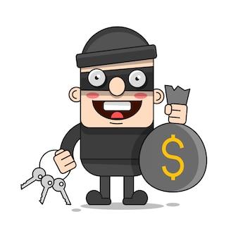 Simpatico personaggio ladro. illustrazione del fumetto di vettore bandito con borsa. ladro in maschera