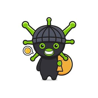 Il virus sveglio del ladro ruba l'illustrazione dell'icona del fumetto dei soldi. design piatto isolato in stile cartone animato
