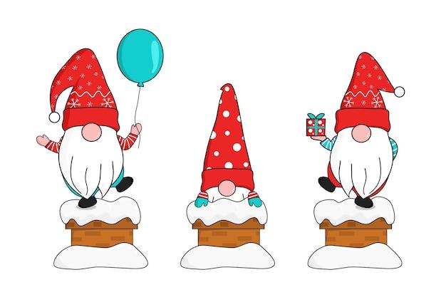 Simpatici tre gnomi in fiocchi di neve rossi cappello da babbo natale si presentano dal camino coperto di neve che tiene in mano una scatola regalo e un palloncino galleggiante. salutare e festeggiare il natale e il nuovo anno. illustrazione vettoriale.