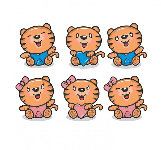 Simpatico pacchetto di personaggi per ragazzi e ragazze tiger