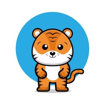 Illustrazione di cartone animato carino tigre