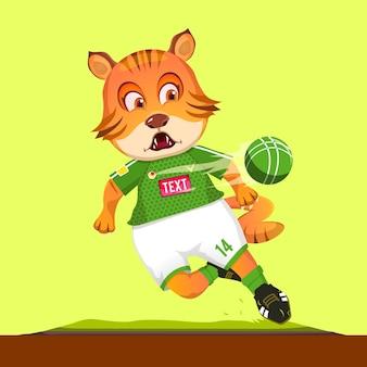 Mascotte sveglia del fumetto della tigre che indossa un costume sportivo di calcio mentre si spara a palla