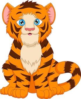 Carino tigre cartone animato in posa seduta