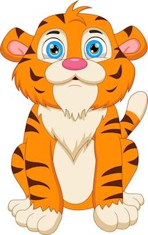 Simpatico cartone animato tigre in posa seduto