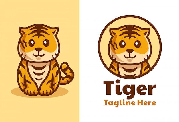 Simpatico design del logo del fumetto di cucciolo di tigre