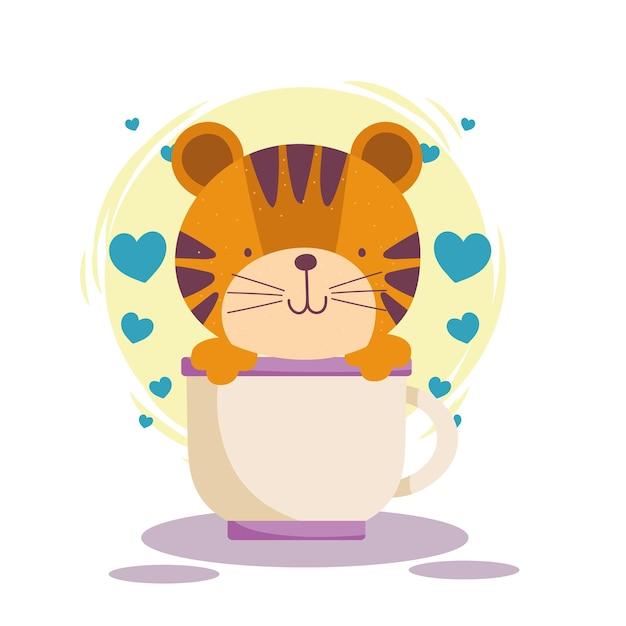 Tigre sveglia sui cuori della tazza. stile cartone animato