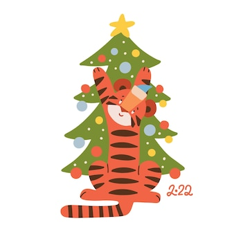 Simpatico tigre che decora l'albero di natale animale simbolo dell'anno nuovo anno mascotte disegnata a mano vettore fl...