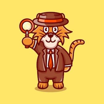 Detective carino tigre con una lente d'ingrandimento