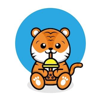Illustrazione di cartone animato di tigre carina che beve tè boba