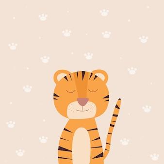 Fronte sveglio della tigre su fondo beige. un simbolo del nuovo anno. tigre del fumetto. illustrazione vettoriale
