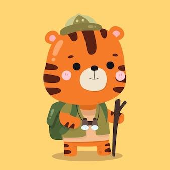 Carino tiger geografo fumetto illustrazioni di animali