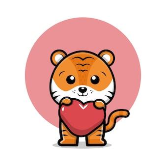 Illustrazione di cartone animato carino tigre che tiene cuore