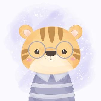 Illustrazione sveglia della tigre per la decorazione dei bambini