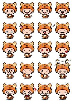 Set design carino mascotte tigre