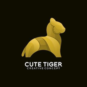Modello di logo di colore sfumato moderno tigre carina