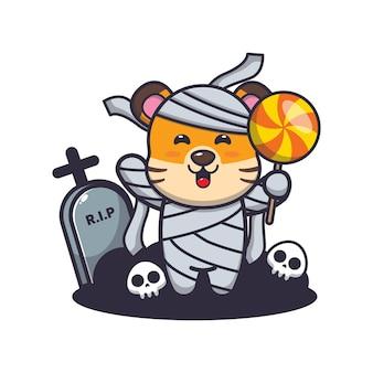 Simpatica mummia tigre che tiene caramelle simpatica illustrazione di cartone animato di halloween