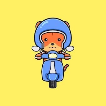 Illustrazione sveglia dell'icona del fumetto del motorino di guida della tigre. design piatto isolato in stile cartone animato