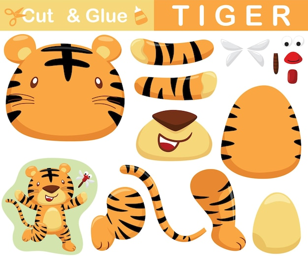 Tigre carina correre inseguire libellula. gioco cartaceo educativo per bambini. ritaglio e incollaggio. illustrazione del fumetto