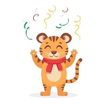 La simpatica tigre con una sciarpa celebra il natale e il capodanno 2022 anno della tigre