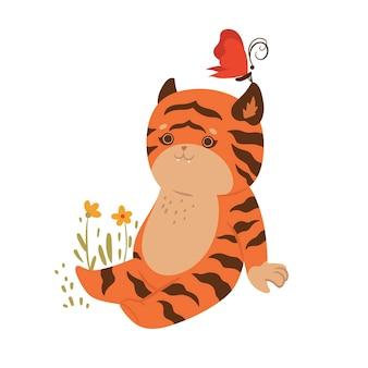 La tigre sveglia si siede in un prato isolato su sfondo bianco. grafica vettoriale.