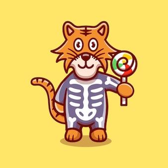 Tigre carina che indossa il costume di halloween scheletro e porta lecca-lecca