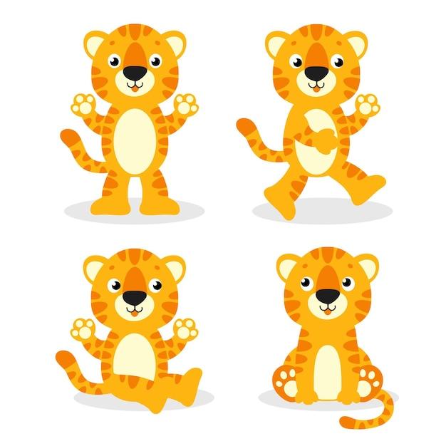 Tigre carina animale selvatico personaggio dei cartoni animati