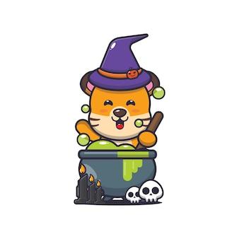 Simpatica strega tigre che fa pozioni simpatica illustrazione di cartone animato di halloween