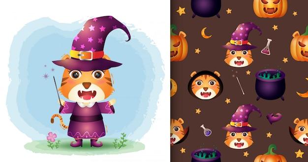 Una tigre carina con collezione di personaggi di halloween in costume. modelli senza cuciture e illustrazioni