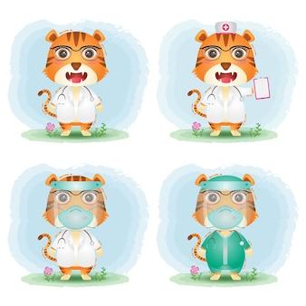 Tigre carina con collezione di costumi di dottore e infermiera del personale medico