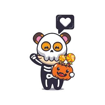 Simpatica tigre con costume da scheletro che tiene in mano una zucca di halloween