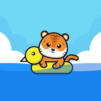 Illustrazione di cartone animato tigre carina con anello da bagno swim