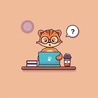 Tigre sveglia che lavora sull'icona di tecnologia animale dell'illustrazione dell'icona di vettore del fumetto del computer portatile