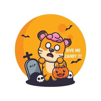 Carino tigre zombie vuole caramelle simpatica illustrazione del fumetto di halloween