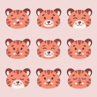 Facce di tigri carine set di tigri a strisce cucciolo di tigre