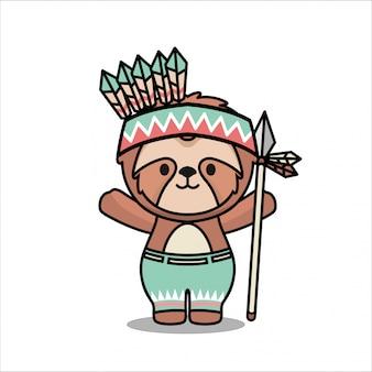 Sveglio piccolo sloth nativo americano animale mascot design personaggio