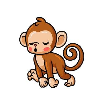 Simpatico cartone animato scimmia stanco bambino