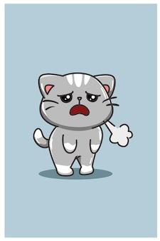 Un cartone animato gatto carino e stanco isolato sull'azzurro