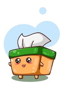 Un'illustrazione della scatola del tessuto carina