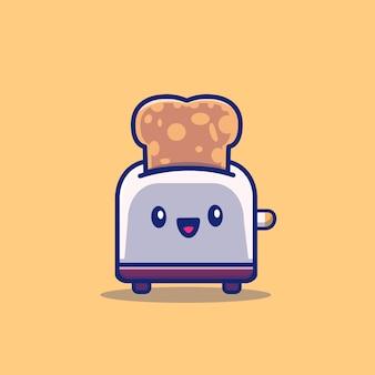 Tostapane carino con pane icona cartoon illustrazione. concetto dell'icona dell'alimento di prima colazione isolato. stile cartone animato piatto