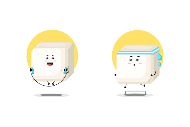 Simpatico personaggio di tofu che si esercita
