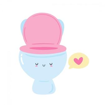 Ciotola di toilette sveglia con cuore nel fumetto