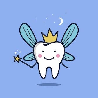 Fatina dei denti carina in stile cartone animato illustrazione vettoriale di carattere fatina dei denti