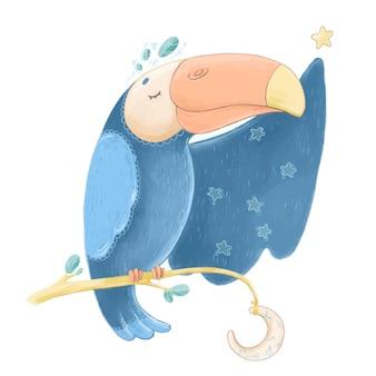 Simpatico tucano su un ramo con luna e stelle. illustrazione