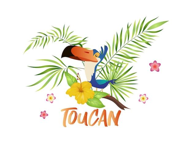 Simpatico cartone animato tucano. uccello con ramo e foglie tropicali, personaggio esotico colorato seduto su palma e fioritura di ibisco, illustrazione vettoriale isolata con testo