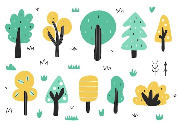 Alberi carini nella collezione in stile cartone animato Vettore Premium